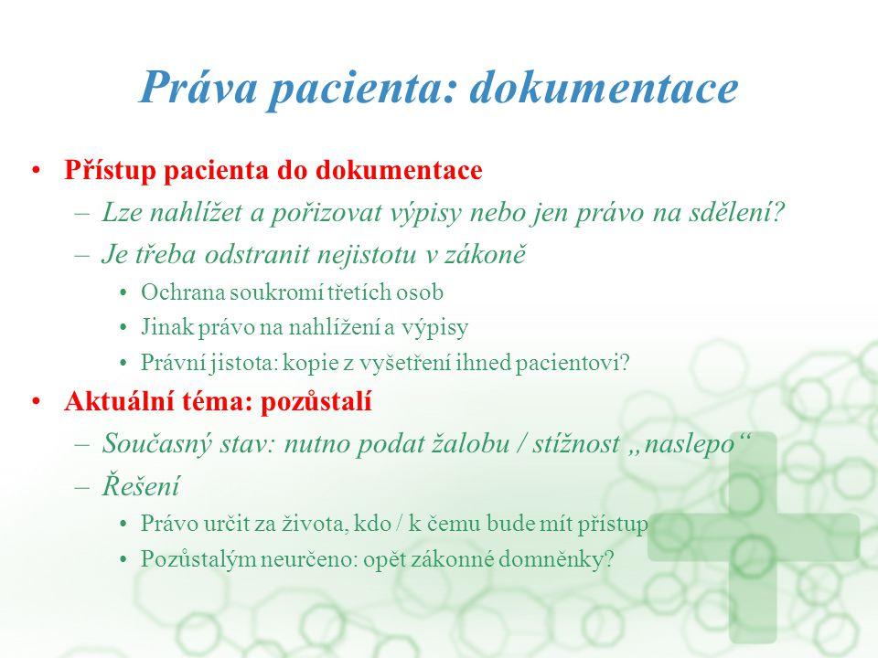 Práva pacienta: dokumentace