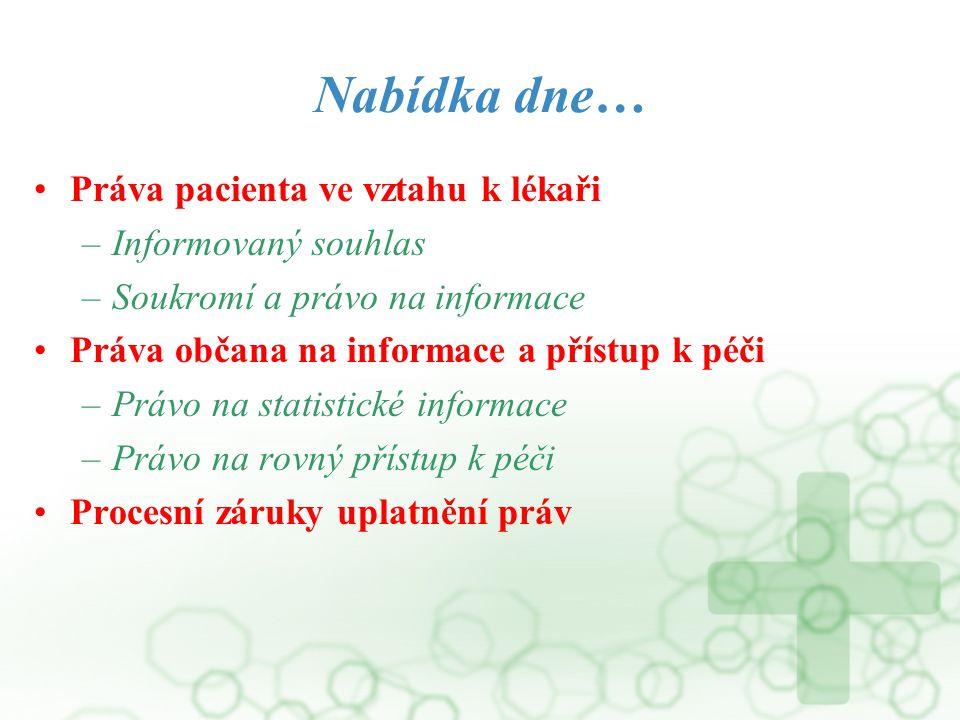 Nabídka dne… Práva pacienta ve vztahu k lékaři Informovaný souhlas