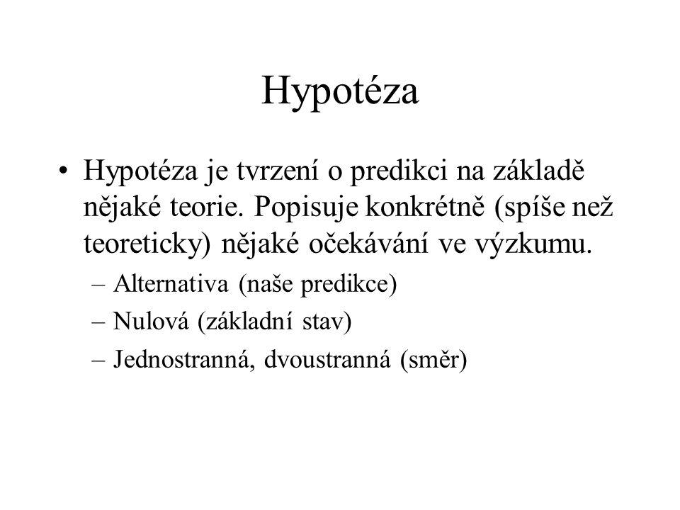 Hypotéza Hypotéza je tvrzení o predikci na základě nějaké teorie. Popisuje konkrétně (spíše než teoreticky) nějaké očekávání ve výzkumu.