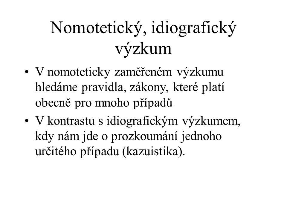 Nomotetický, idiografický výzkum
