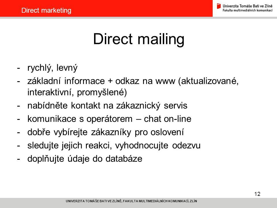Direct mailing rychlý, levný