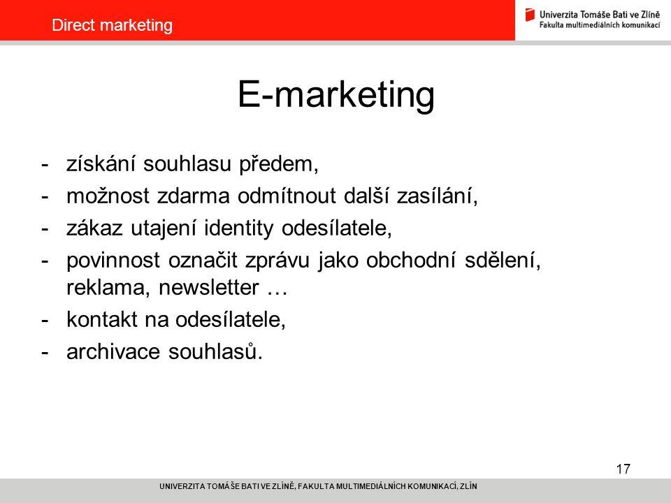E-marketing získání souhlasu předem,