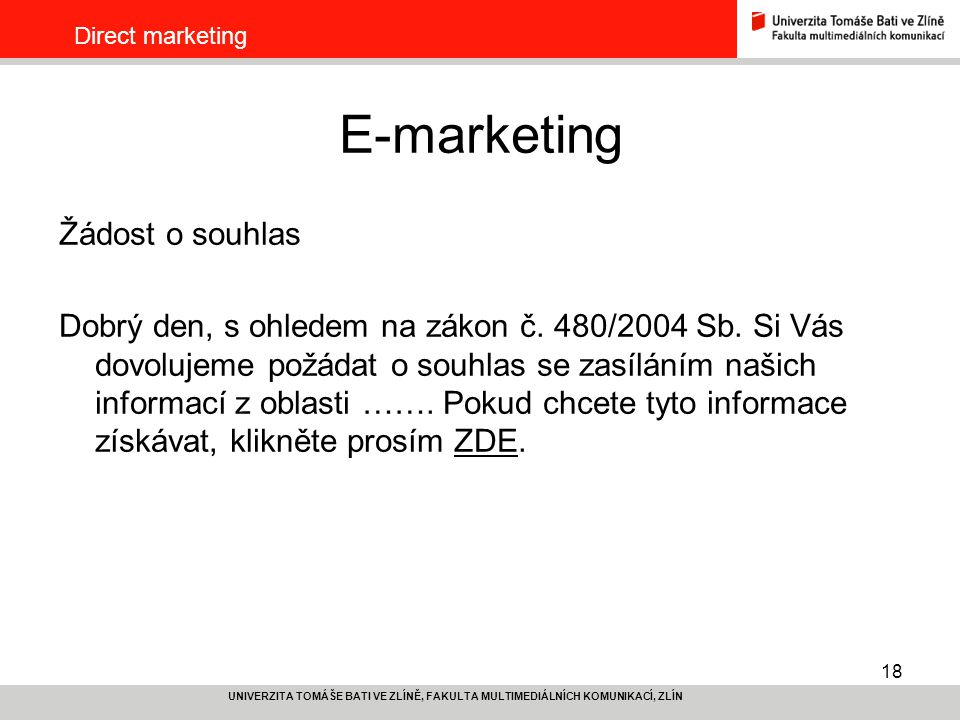 E-marketing Žádost o souhlas