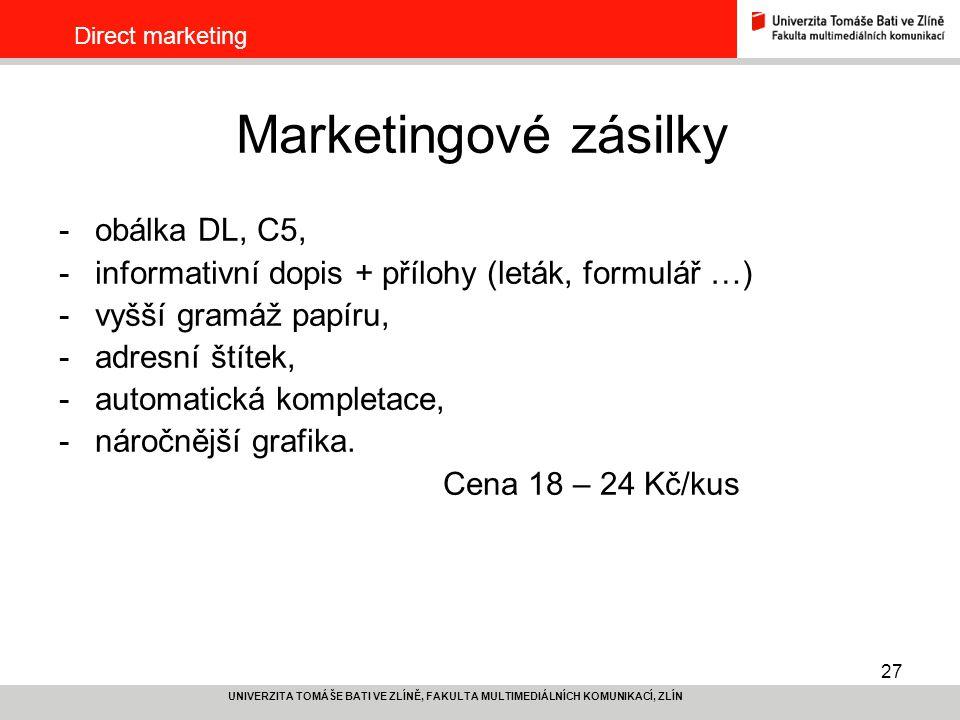 Marketingové zásilky obálka DL, C5,