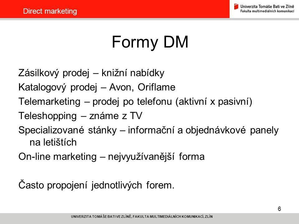 Formy DM Zásilkový prodej – knižní nabídky
