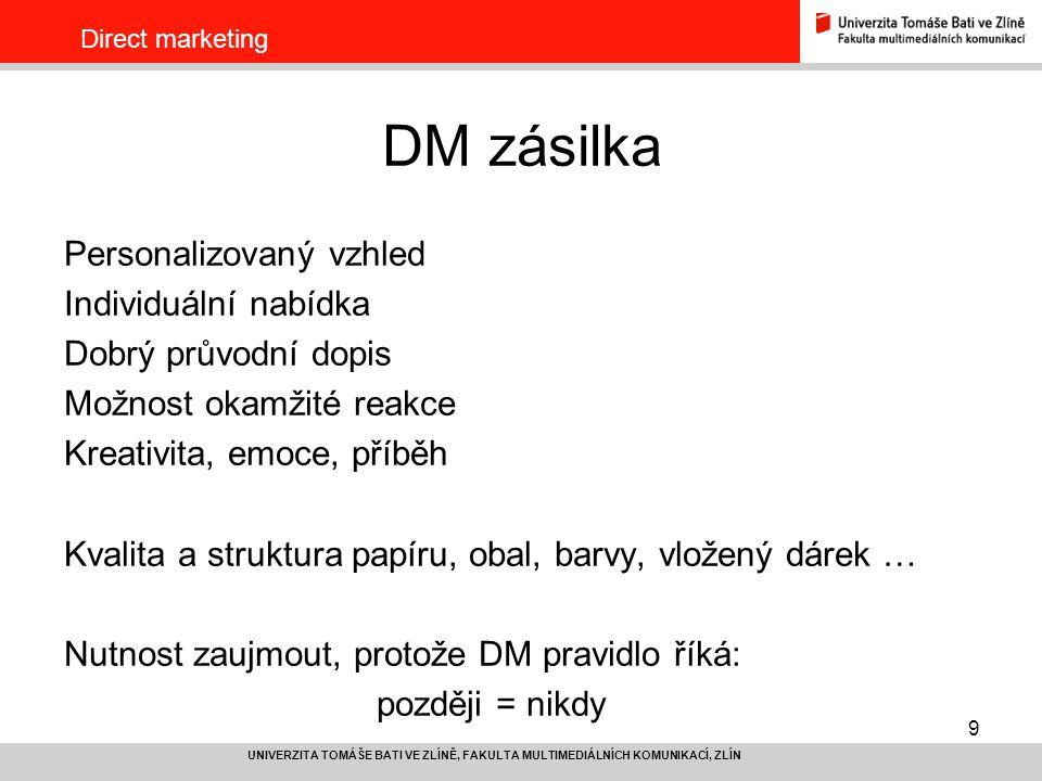 DM zásilka Personalizovaný vzhled Individuální nabídka