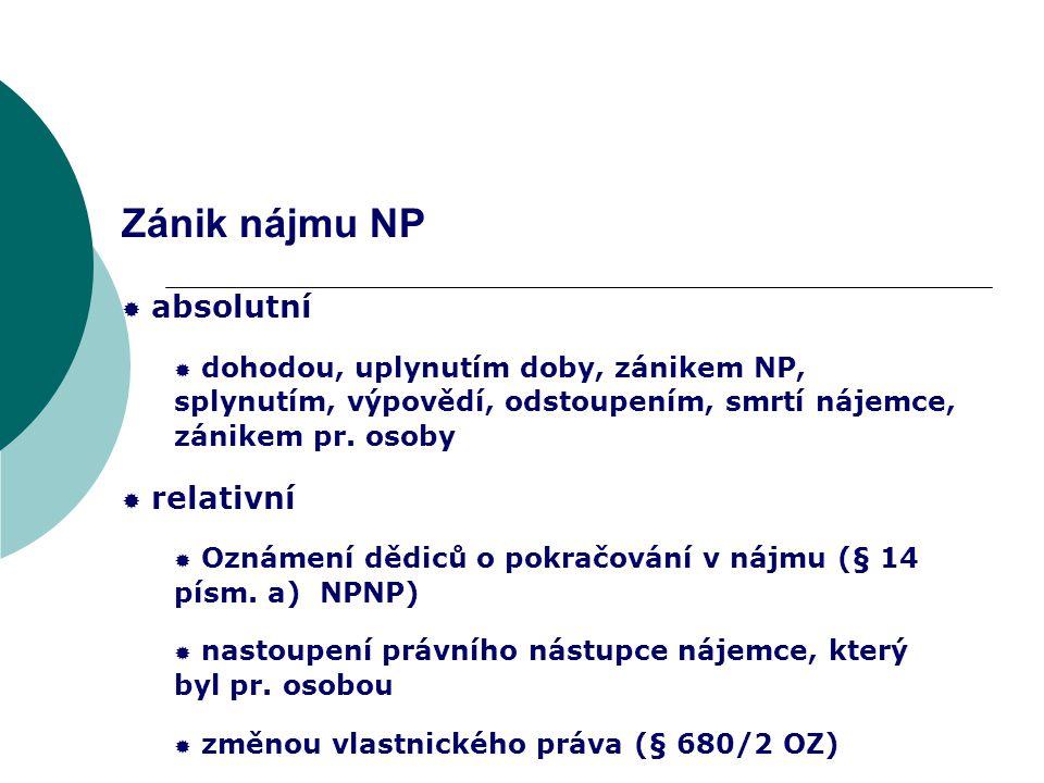 Zánik nájmu NP absolutní relativní