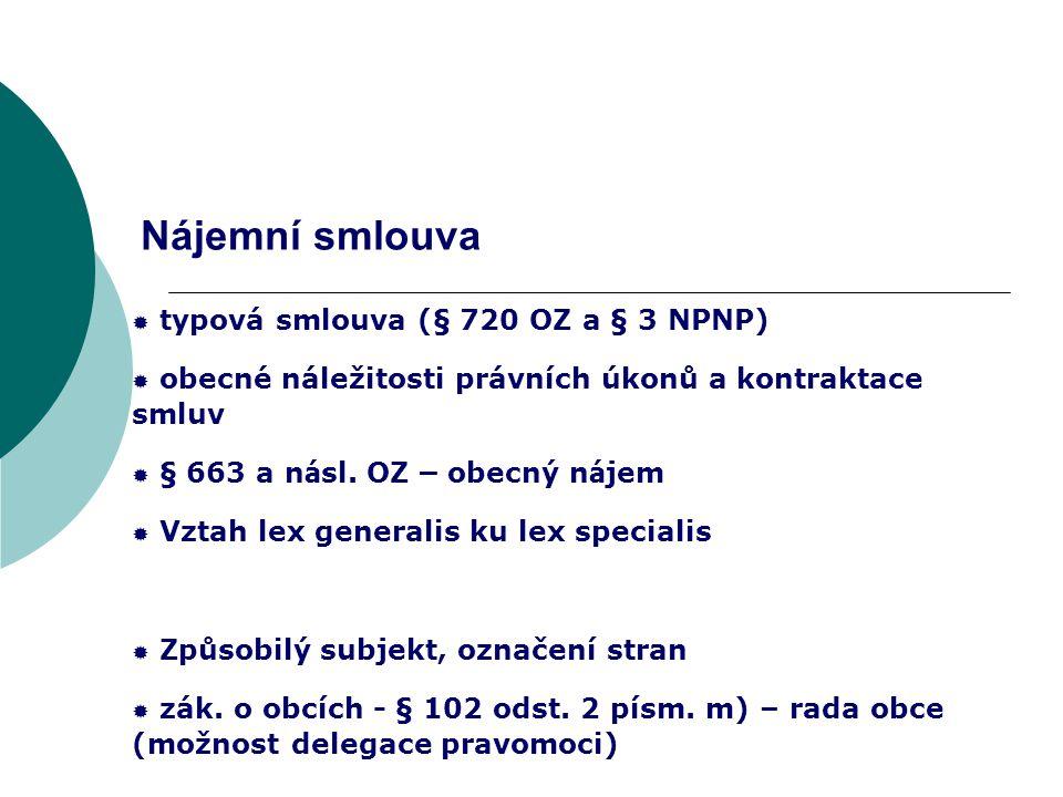 Nájemní smlouva typová smlouva (§ 720 OZ a § 3 NPNP)