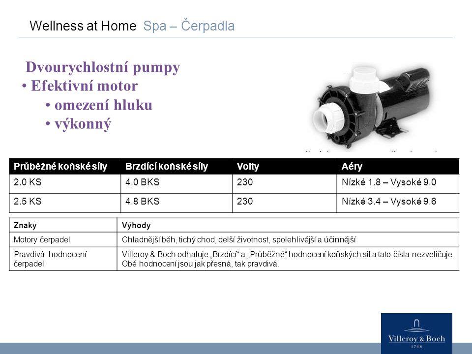 Dvourychlostní pumpy Efektivní motor omezení hluku výkonný