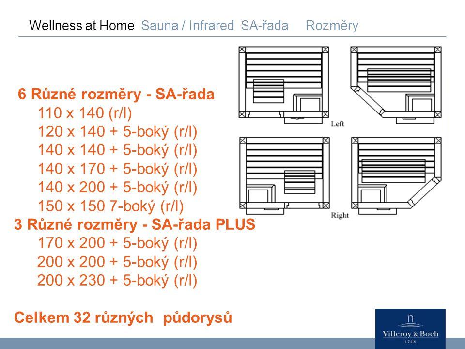 6 Různé rozměry - SA-řada 110 x 140 (r/l) 120 x 140 + 5-boký (r/l)