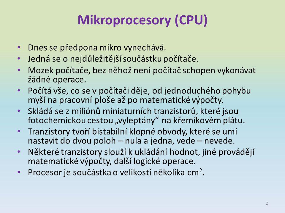 Mikroprocesory (CPU) Dnes se předpona mikro vynechává.