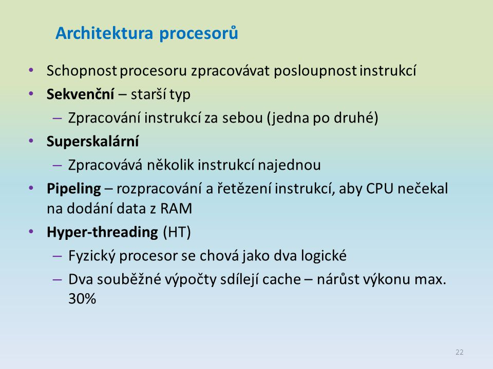 Architektura procesorů