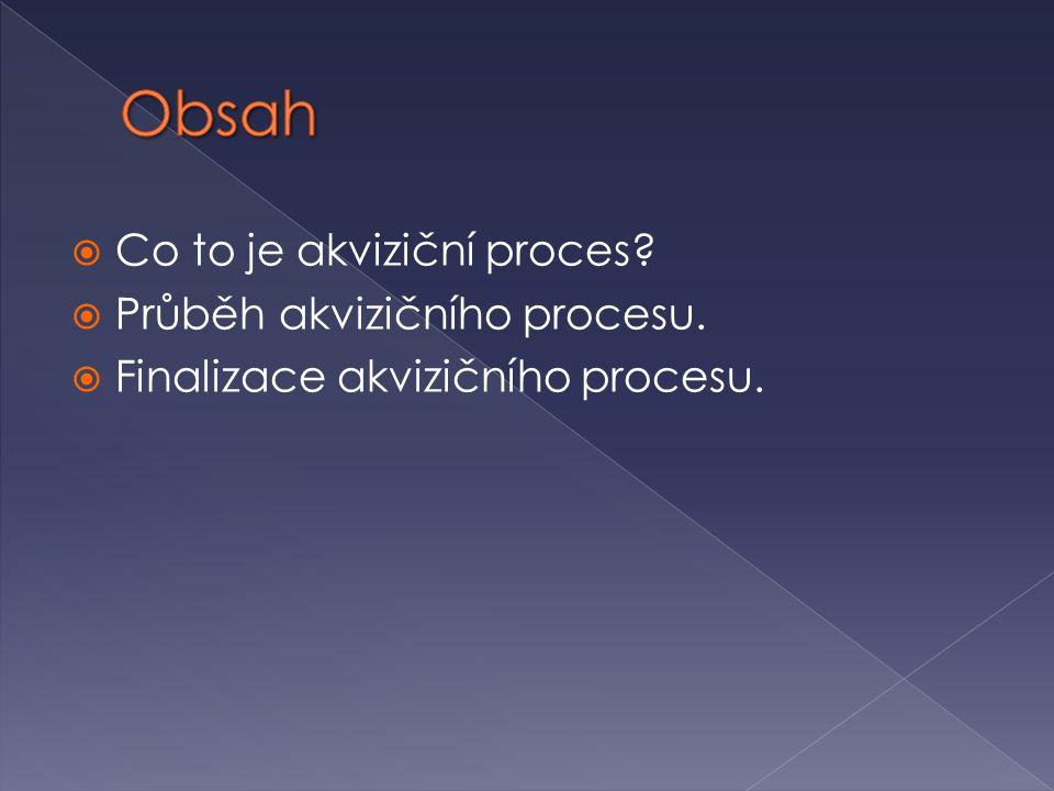 Obsah Co to je akviziční proces Průběh akvizičního procesu.