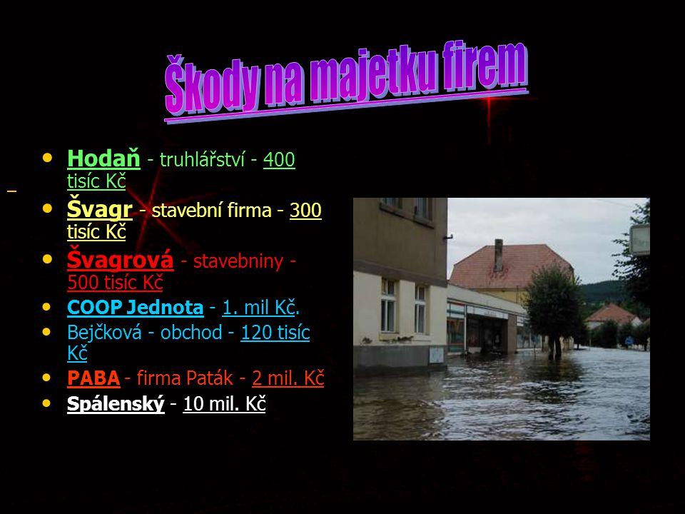 Škody na majetku firem Hodaň - truhlářství - 400 tisíc Kč