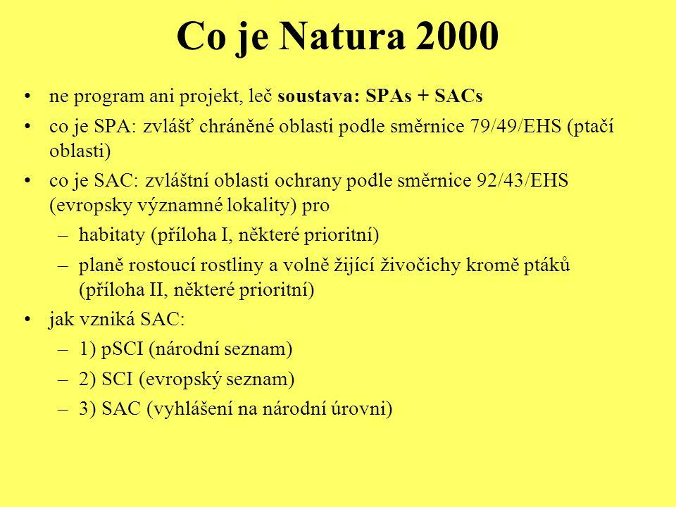 Co je Natura 2000 ne program ani projekt, leč soustava: SPAs + SACs