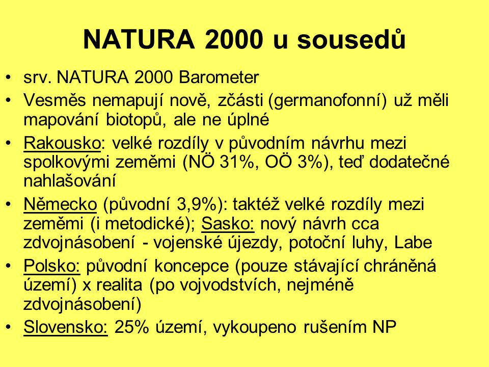 NATURA 2000 u sousedů srv. NATURA 2000 Barometer