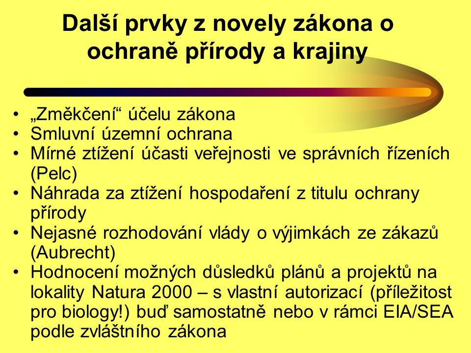 Další prvky z novely zákona o ochraně přírody a krajiny