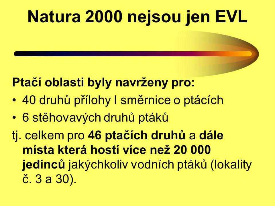 Natura 2000 nejsou jen EVL Ptačí oblasti byly navrženy pro:
