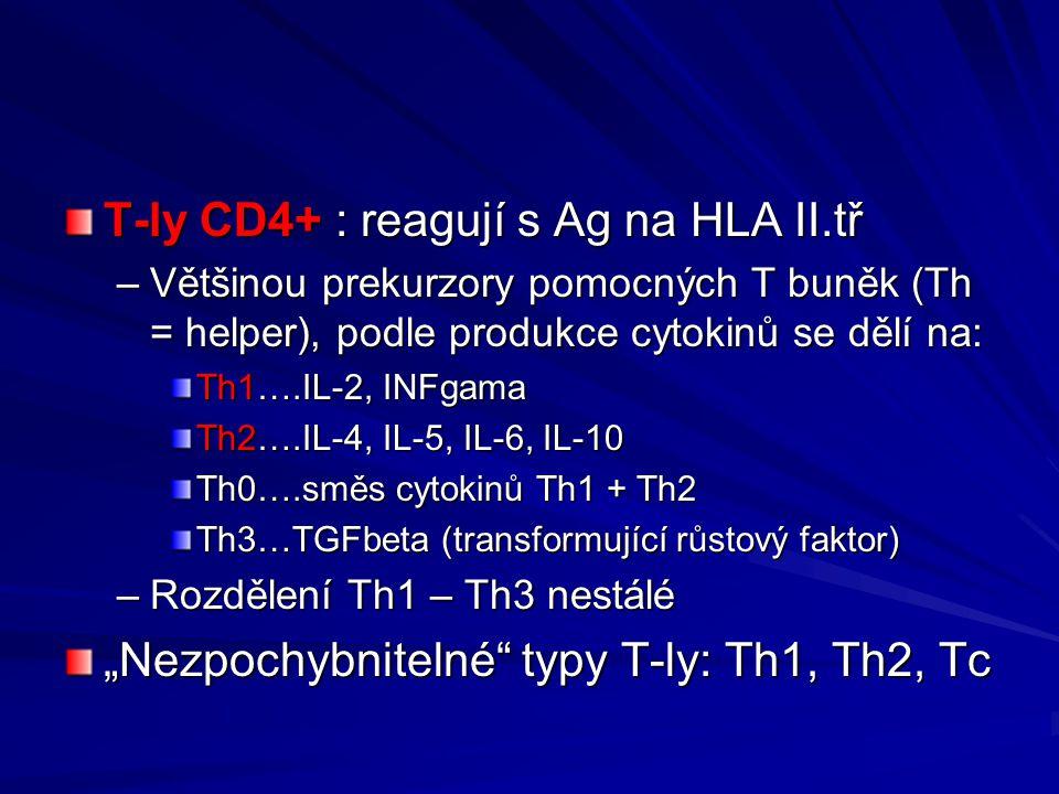 T-ly CD4+ : reagují s Ag na HLA II.tř