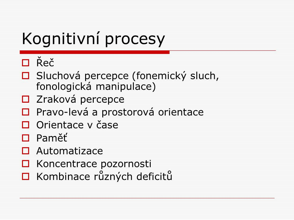 Kognitivní procesy Řeč