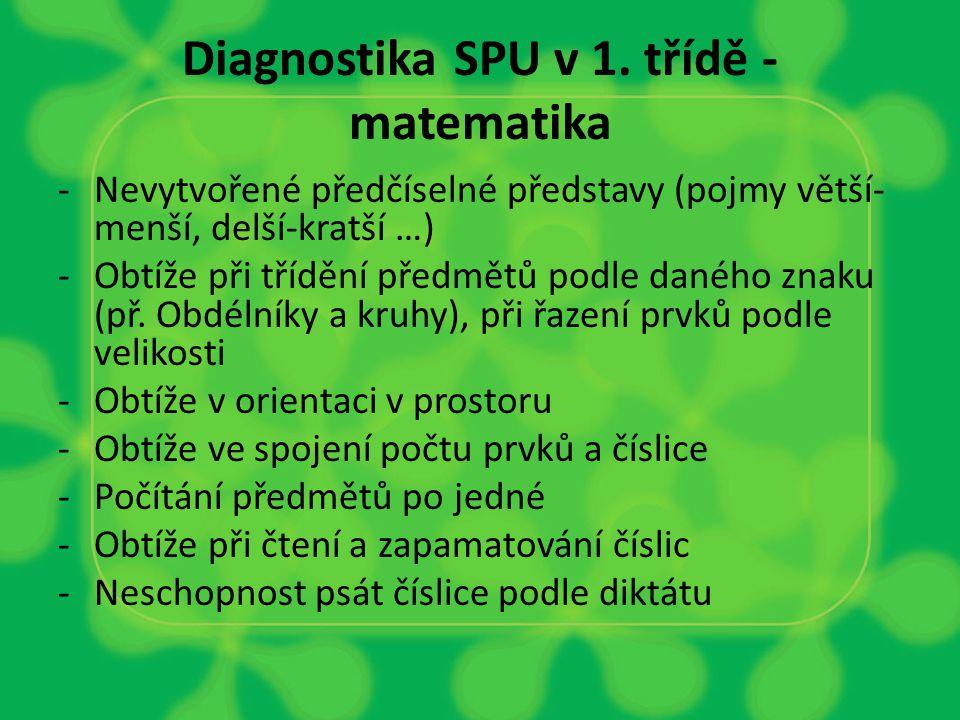 Diagnostika SPU v 1. třídě - matematika