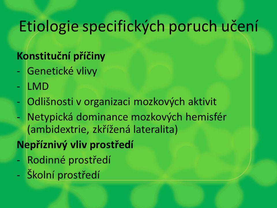 Etiologie specifických poruch učení