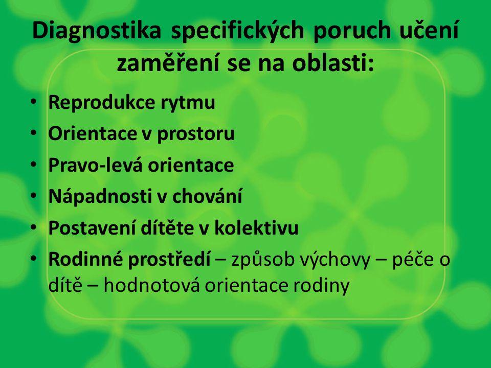 Diagnostika specifických poruch učení zaměření se na oblasti: