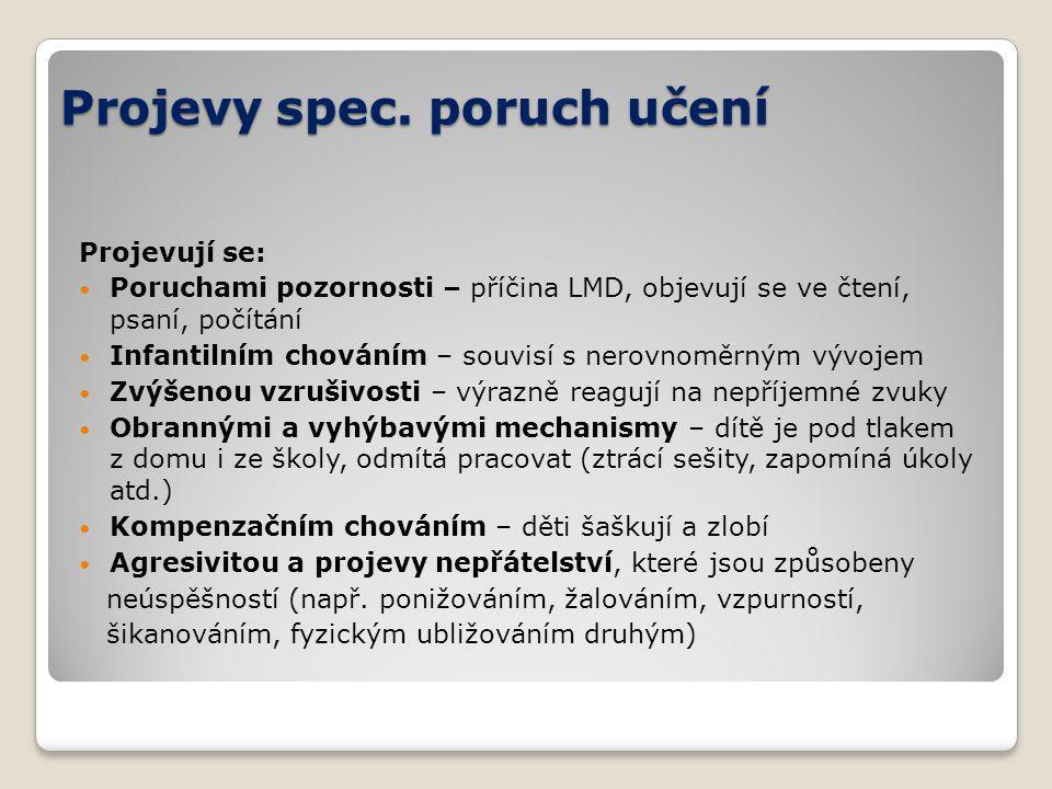Projevy spec. poruch učení