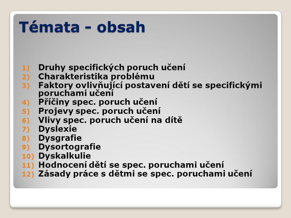 Témata - obsah Druhy specifických poruch učení