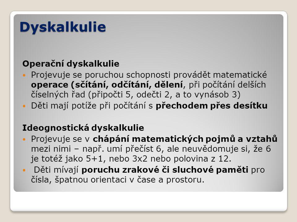 Dyskalkulie Operační dyskalkulie