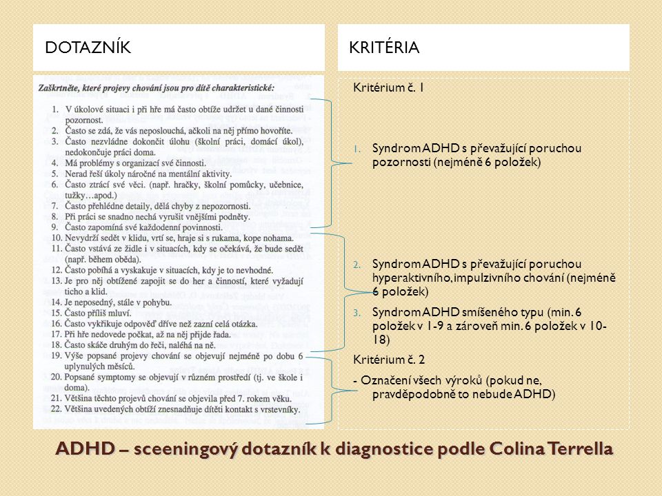 ADHD – sceeningový dotazník k diagnostice podle Colina Terrella