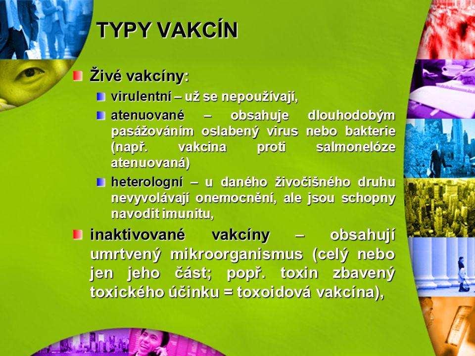 TYPY VAKCÍN Živé vakcíny: