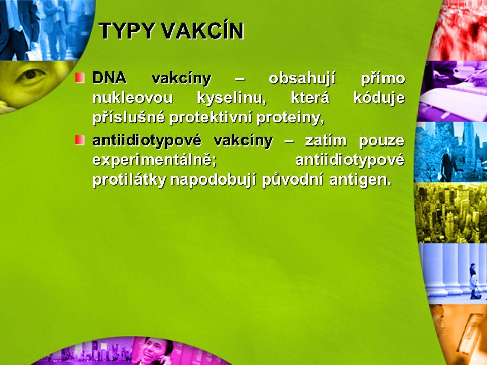 TYPY VAKCÍN DNA vakcíny – obsahují přímo nukleovou kyselinu, která kóduje příslušné protektivní proteiny,