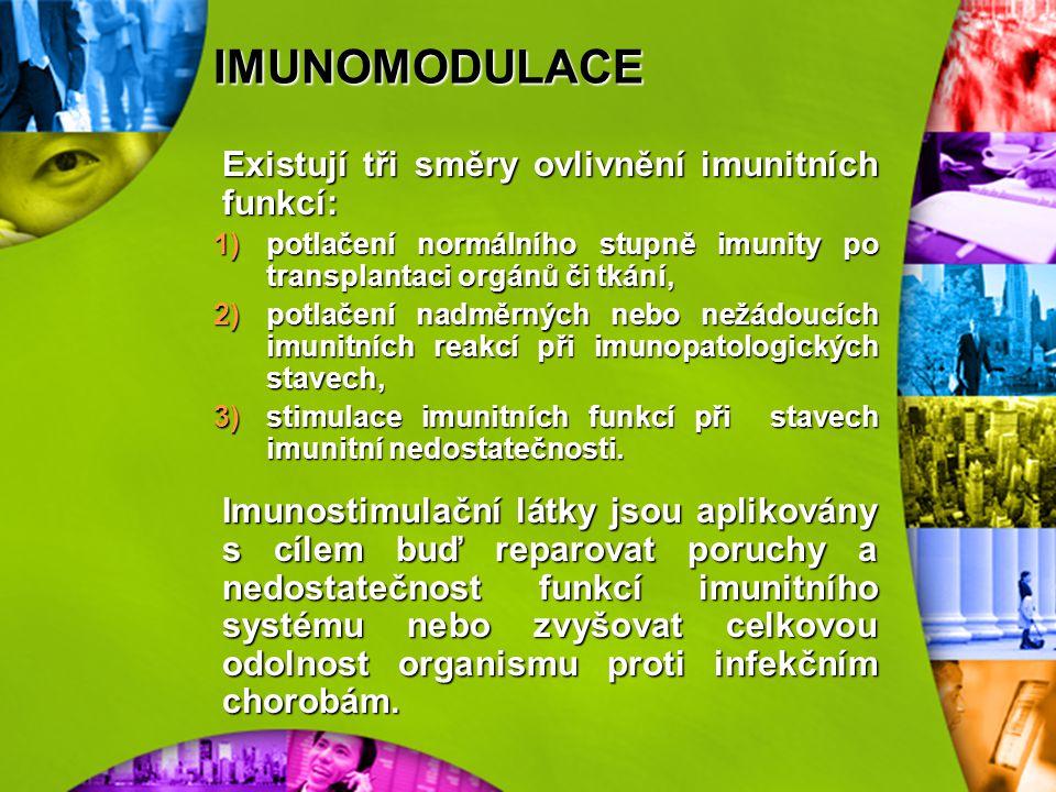 IMUNOMODULACE Existují tři směry ovlivnění imunitních funkcí: