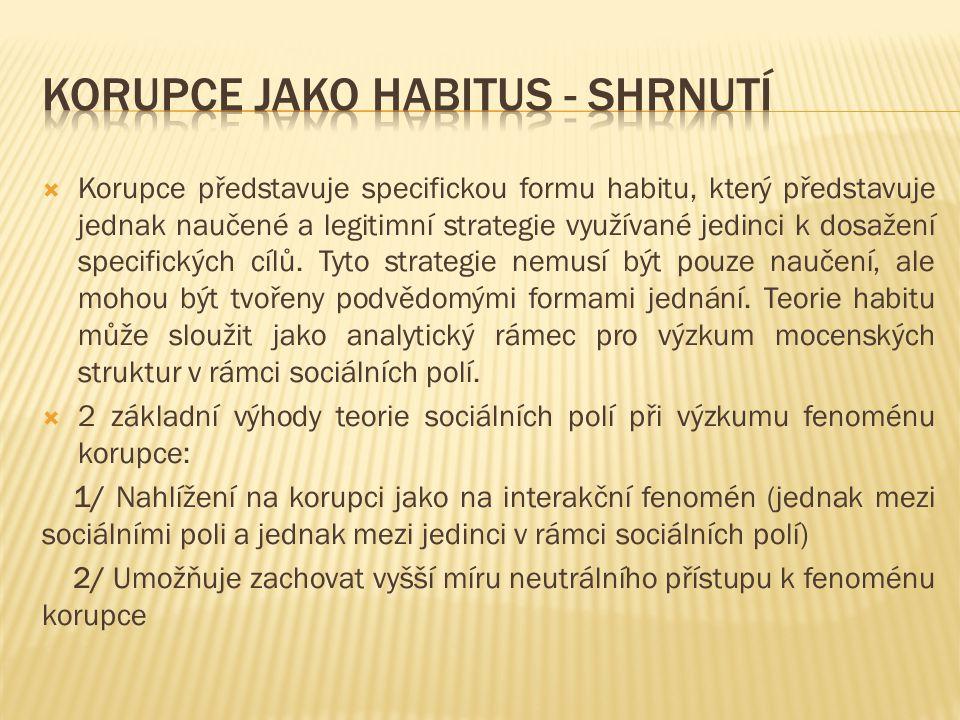 Korupce jako habitus - shrnutí