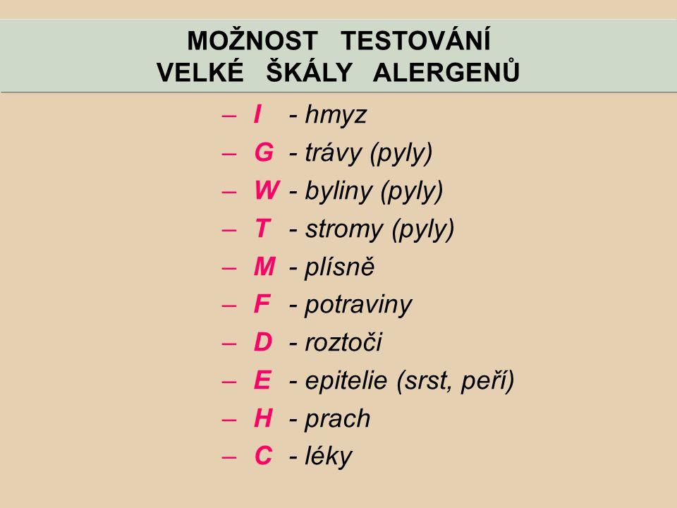 MOŽNOST TESTOVÁNÍ VELKÉ ŠKÁLY ALERGENŮ. I - hmyz. G - trávy (pyly) W - byliny (pyly) T - stromy (pyly)