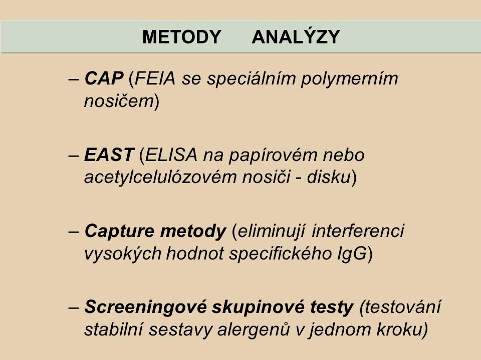 METODY ANALÝZY CAP (FEIA se speciálním polymerním nosičem) EAST (ELISA na papírovém nebo acetylcelulózovém nosiči - disku)
