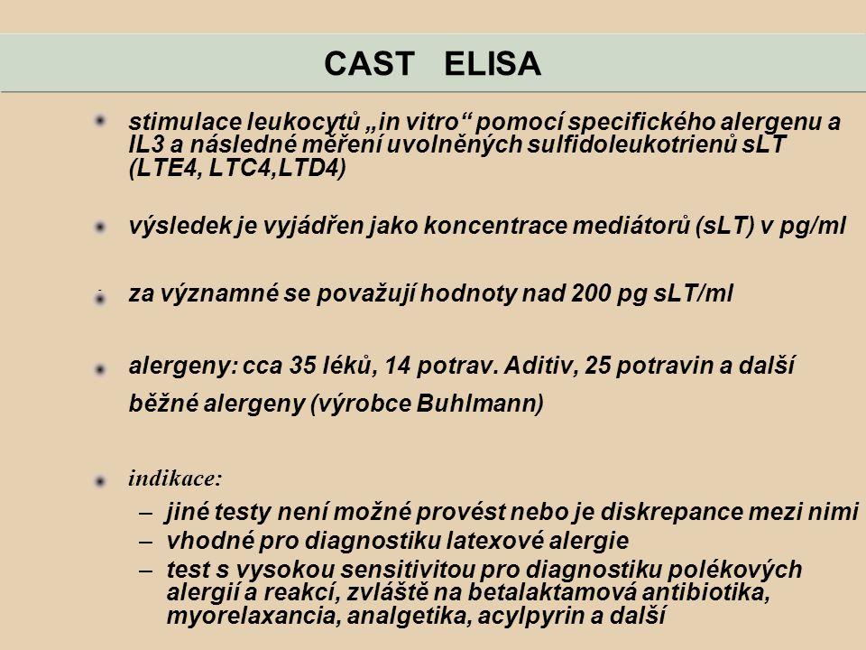 """CAST ELISA stimulace leukocytů """"in vitro pomocí specifického alergenu a IL3 a následné měření uvolněných sulfidoleukotrienů sLT (LTE4, LTC4,LTD4)"""
