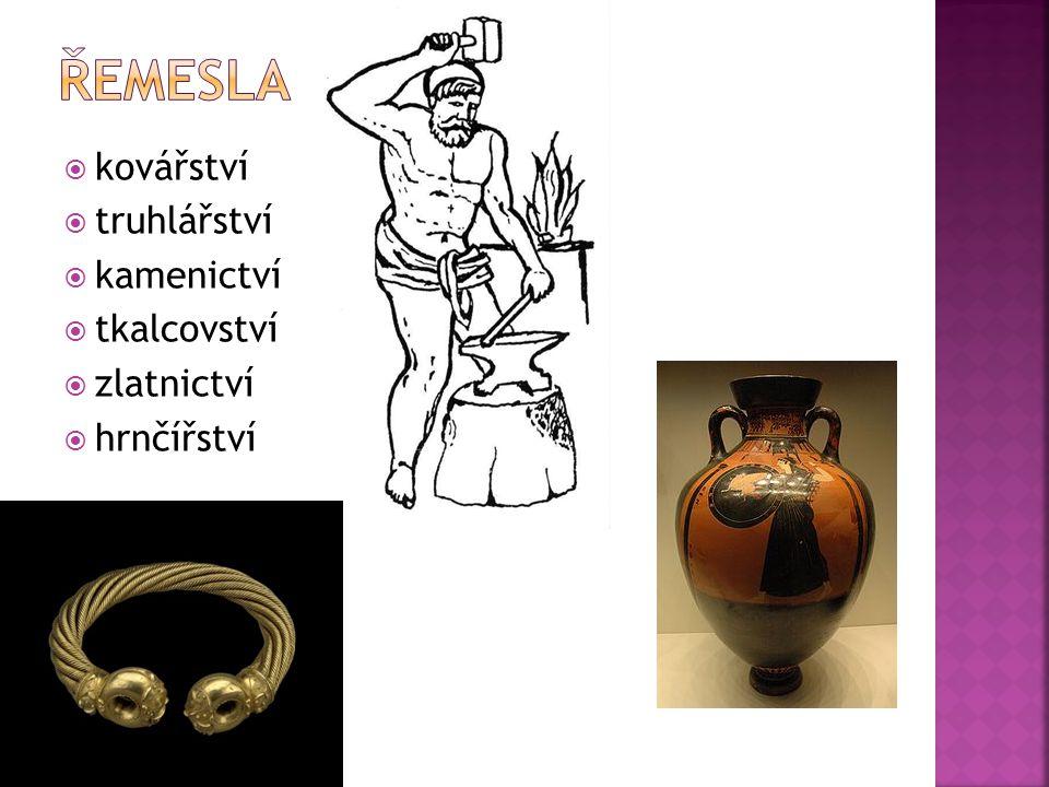 Řemesla kovářství truhlářství kamenictví tkalcovství zlatnictví