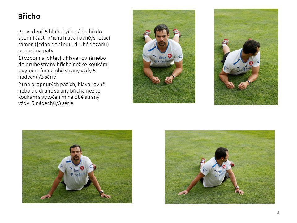 Břicho Provedení: 5 hlubokých nádechů do spodní části břicha hlava rovně/s rotací ramen (jedno dopředu, druhé dozadu) pohled na paty.