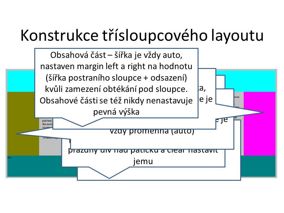 Konstrukce třísloupcového layoutu