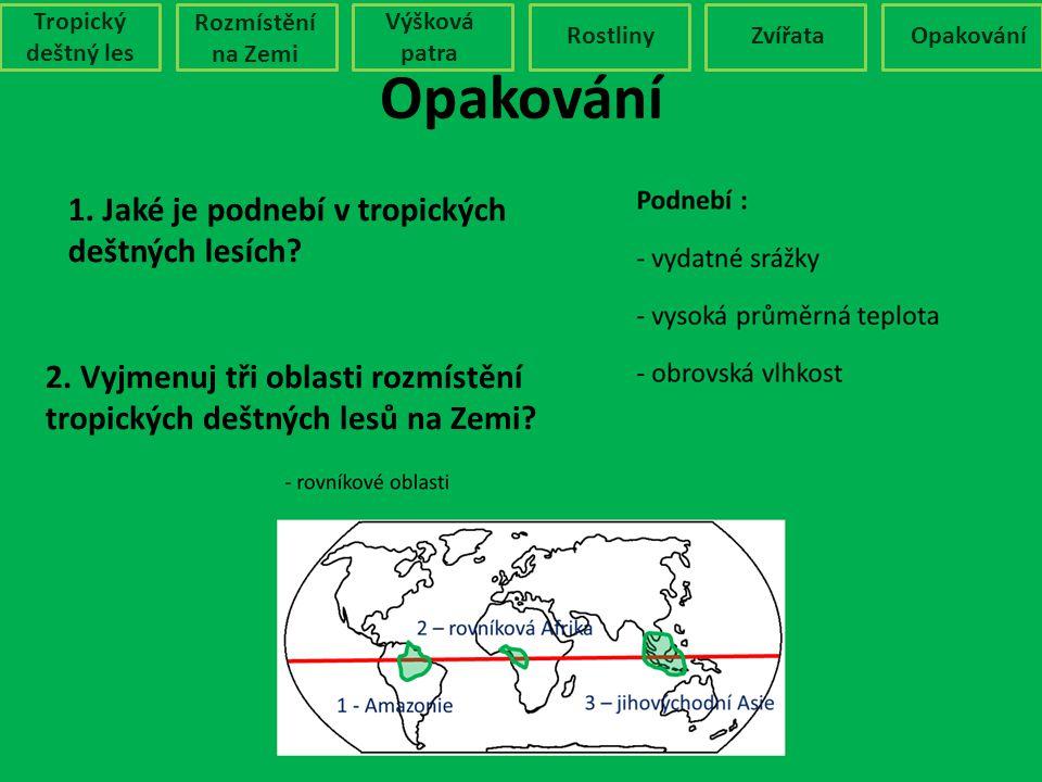 Opakování 1. Jaké je podnebí v tropických deštných lesích