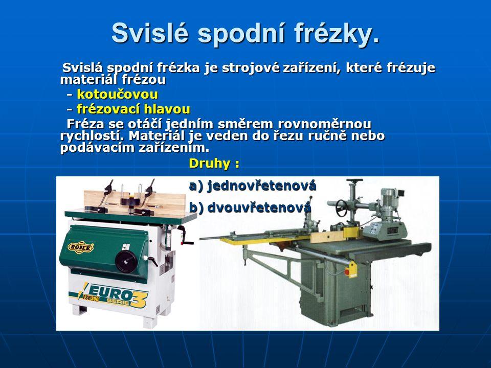 Svislé spodní frézky. Svislá spodní frézka je strojové zařízení, které frézuje materiál frézou. - kotoučovou.