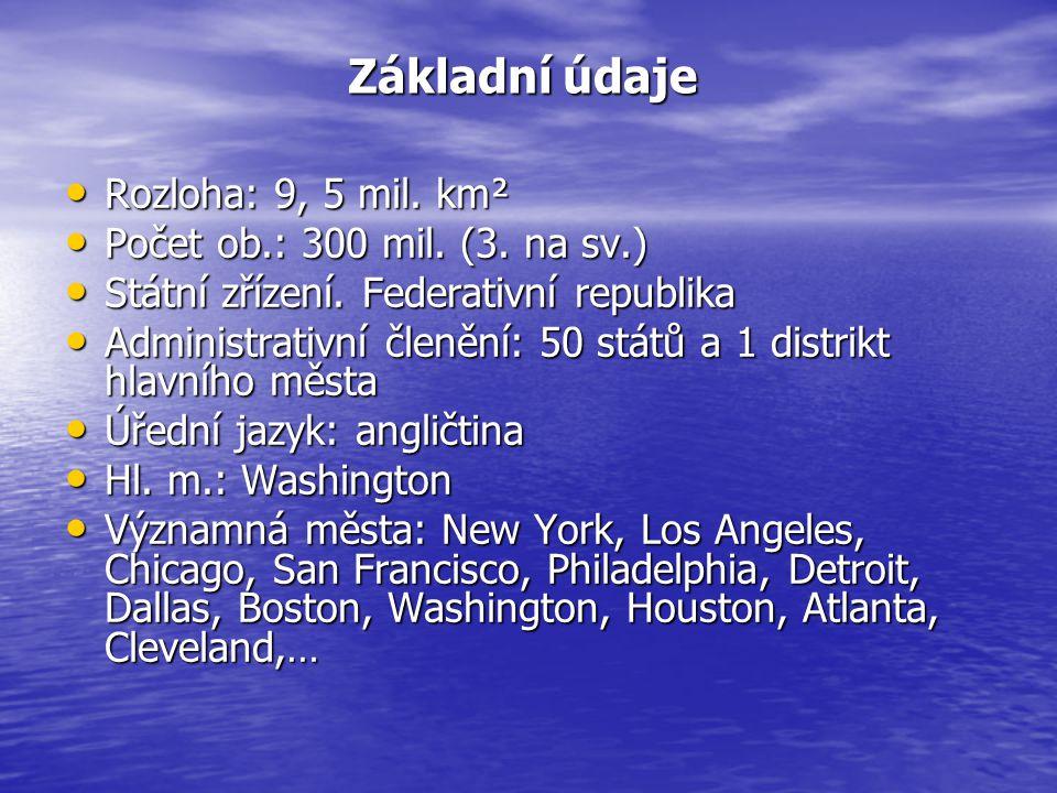 Základní údaje Rozloha: 9, 5 mil. km² Počet ob.: 300 mil. (3. na sv.)