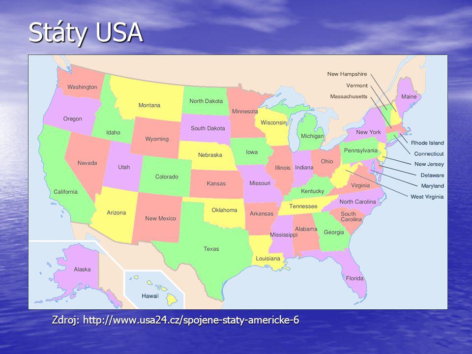 Státy USA Zdroj: http://www.usa24.cz/spojene-staty-americke-6