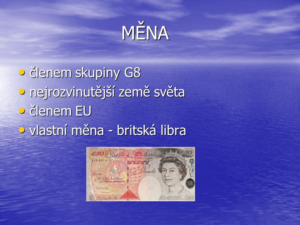 MĚNA členem skupiny G8 nejrozvinutější země světa členem EU