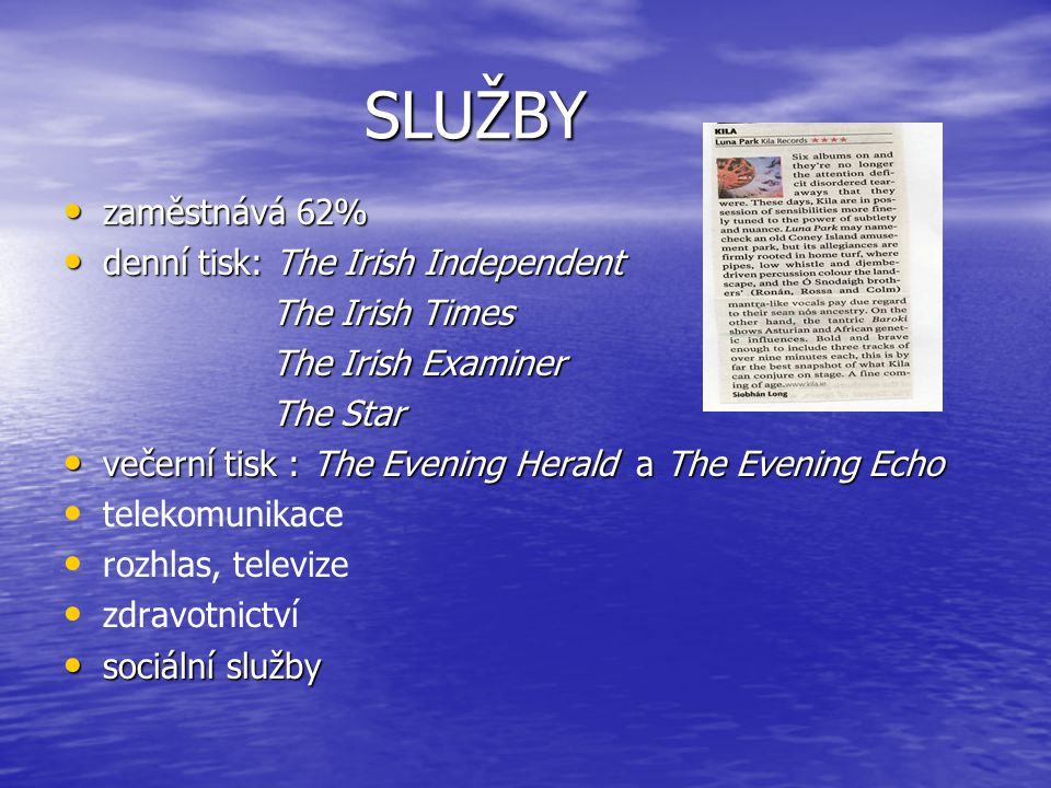 SLUŽBY zaměstnává 62% denní tisk: The Irish Independent