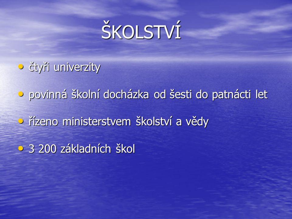 ŠKOLSTVÍ čtyři univerzity