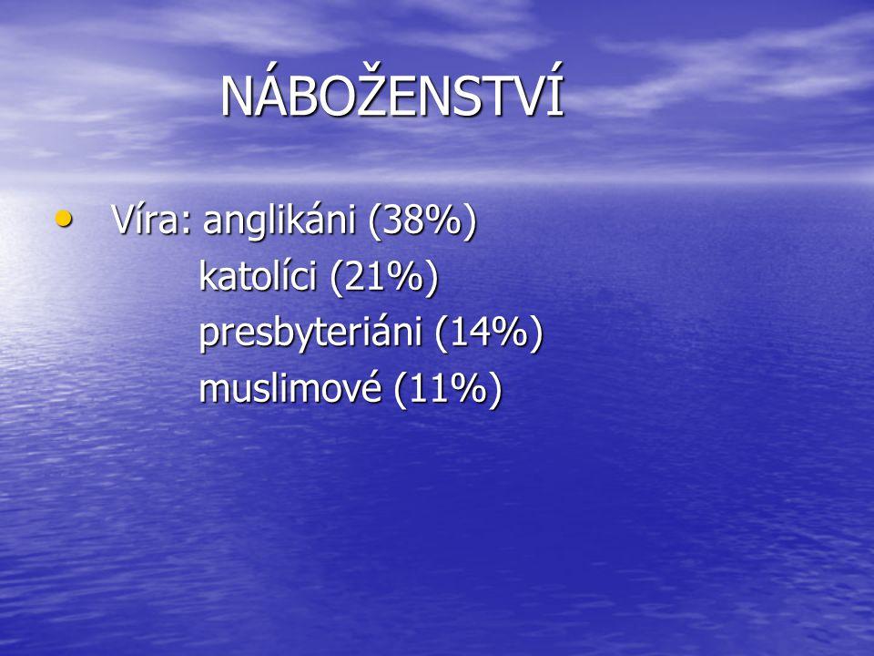 NÁBOŽENSTVÍ Víra: anglikáni (38%) katolíci (21%) presbyteriáni (14%)