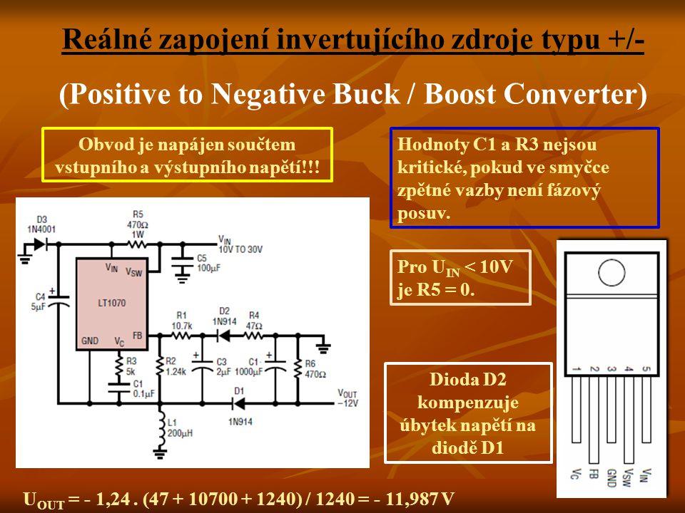 Reálné zapojení invertujícího zdroje typu +/-